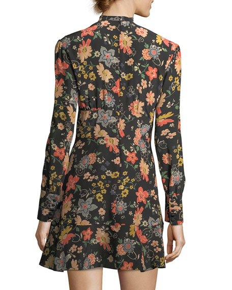 Chelsea Long-Sleeve Tie-Neck Floral-Print Minidress