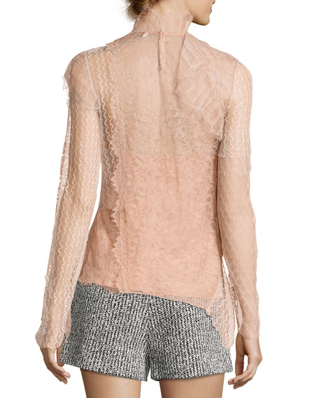 Lace Patchwork Long-Sleeve Woven Blouse
