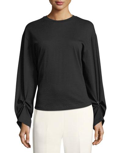 Long-Sleeve Split-Back Cotton Top w/ Piercing