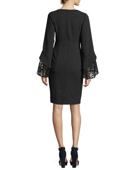 Betty V-Neck Lace Sleeve Sheath Cocktail Dress