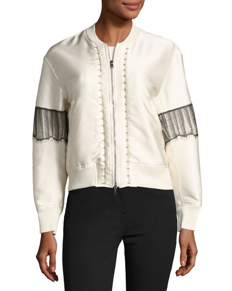 Zip-Front Satin Bomber Jacket w/ Lace