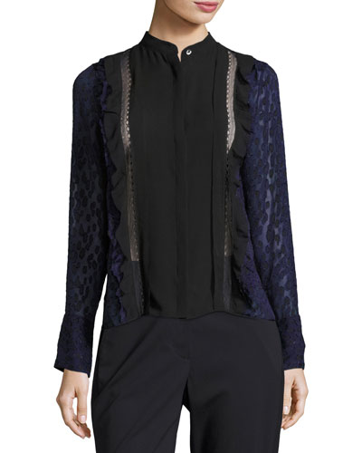 Long-Sleeve Fil Coupe Silk Woven Top