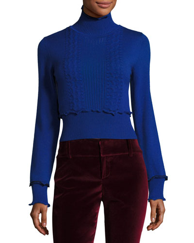 Turtleneck Long-Sleeve Cable-Knit Sweater
