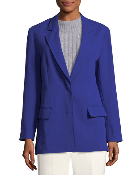 Notched-Collar Two-Button Wool-Blend Blazer