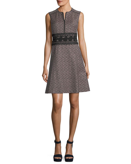 Chelsea Sleeveless Jacquard Cocktail Dress w/ Embroidery