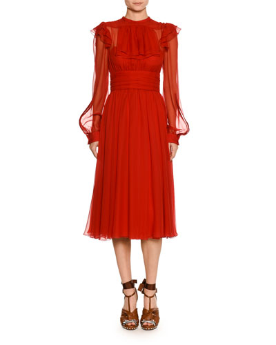 High-Neck Long-Sleeve Ruffled Midi Cocktail Dress