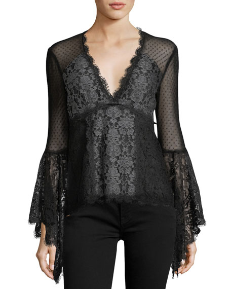 West End V-Neck Long-Sleeve Lace Blouse