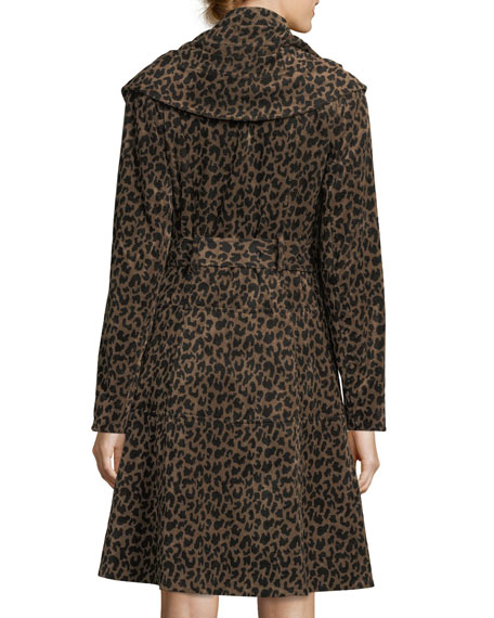 Carnaby Animal-Print Shawl-Collar Belted Coat
