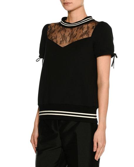 Short-Sleeve Lace-Neck Cotton Sweatshirt