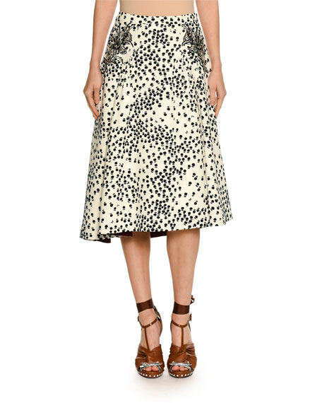 Printed Embellished Midi Swing Skirt