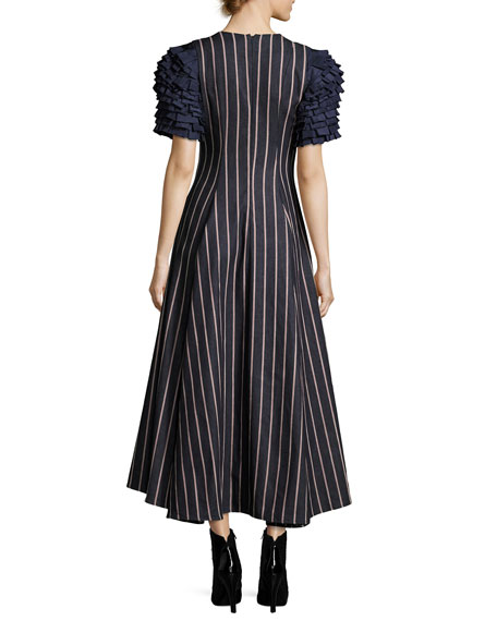 Grabs Your Heart Striped V-Neck Ruffled-Sleeves Denim Dress