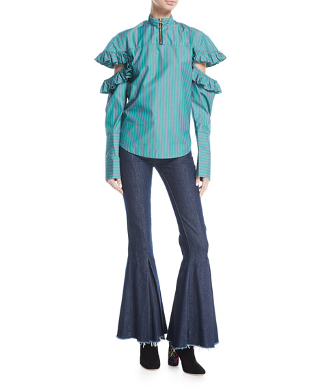 Dreamer Mid-Rise Pleated Flared Denim Pants