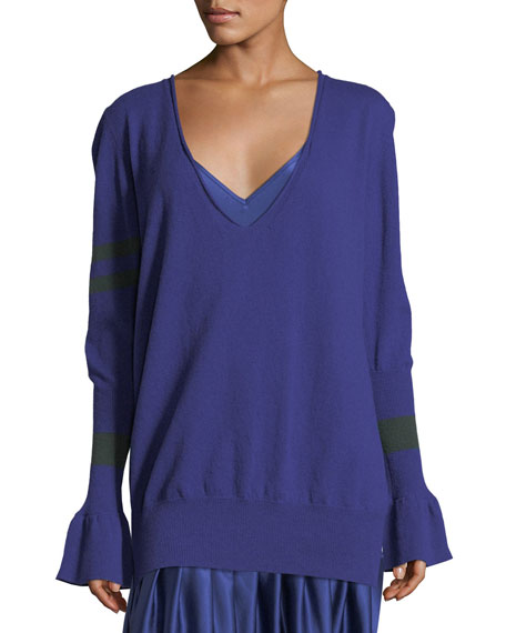 Hold On To Your Own Boyfriend V-Neck Wool Sweater