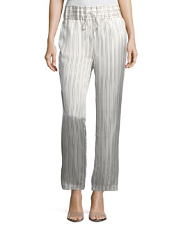 Silk Somewhere Striped Drawstring Pants