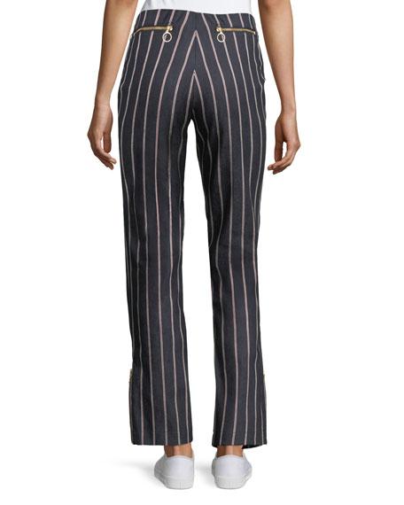 Loyal Companion Slim Straight-Leg Striped Denim Pants