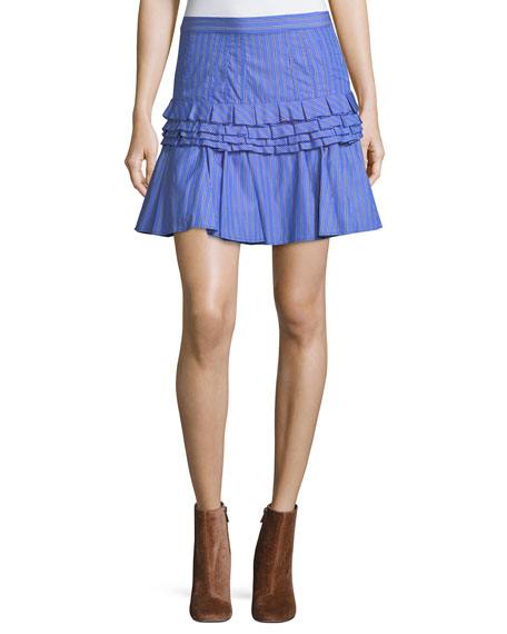 Tiered Ruffled Striped Cotton Mini Skirt