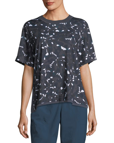 Ess Crewneck Short-Sleeve Swirl-Printed Performance Tee