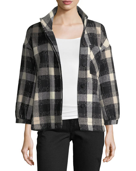 Belted Drop-Shoulder Plaid Wool-Blend Jacket