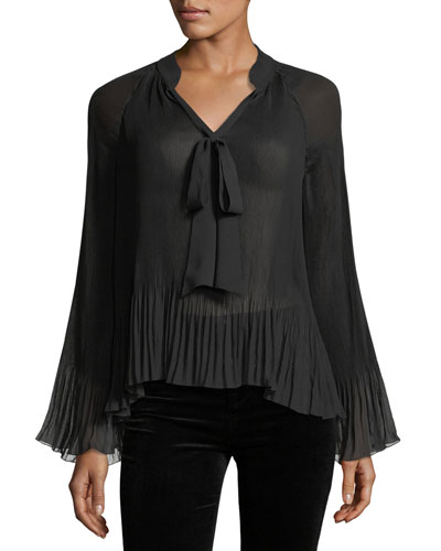 Split-Neck Long-Sleeve Pleated Chiffon Top