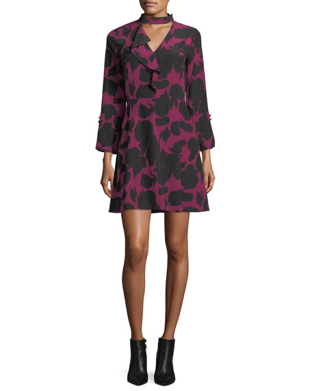 Choker A-Line Printed Silk Dress w/ Bell Sleeves