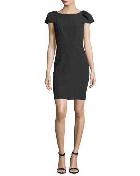 Gathered Short-Sleeve Italian Cady Sheath Minidress