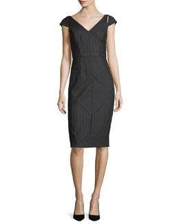 Larissa Cap-Sleeve Pinstriped Sheath Dress