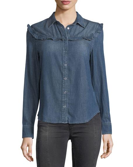 AG Joanna Spread-Collar Snap Denim Shirt w/ Ruffles