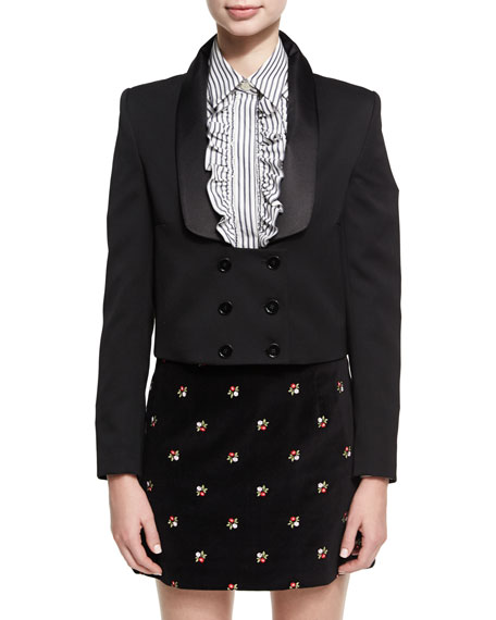 Long-Collar Double-Breasted Tuxedo Jacket