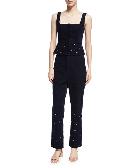 Flared High-Waist Corduroy Trousers w/ Grommets