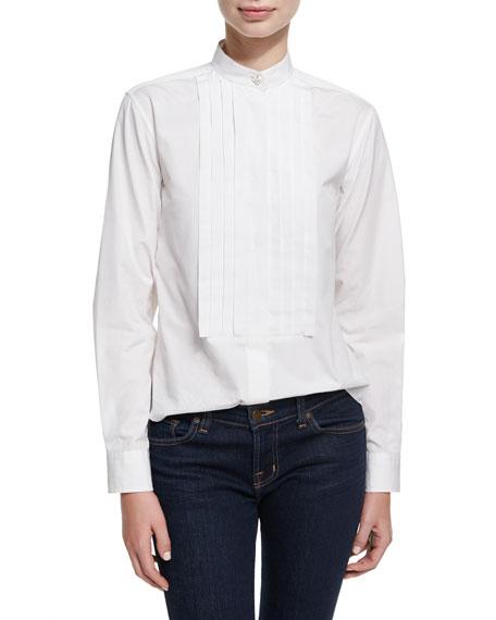 Pleated Placket Long-Sleeve Tuxedo Shirt