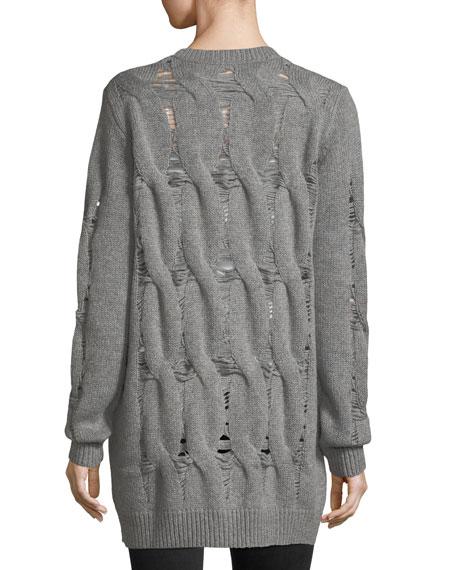 Sandrine Button-Front Oversized Wool-Blend Cardigan