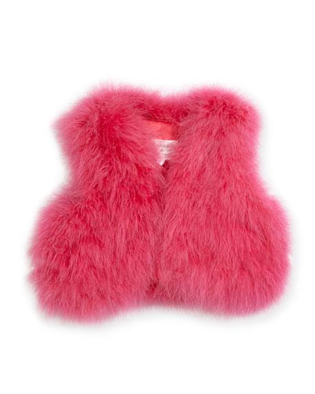 Charabia Sleeveless Feather Vest, Size 10-14