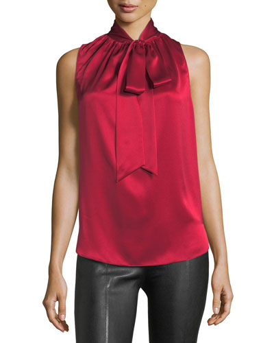 Tie-Neck Sleeveless Silk Charmeuse Blouse