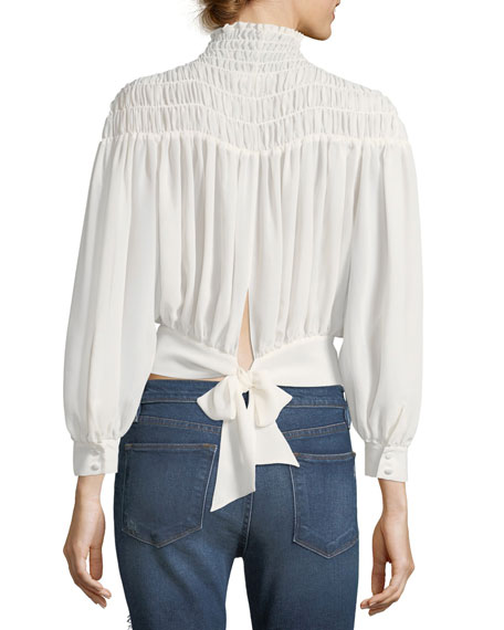 Smocked Tieback Long-Sleeve Chiffon Blouse