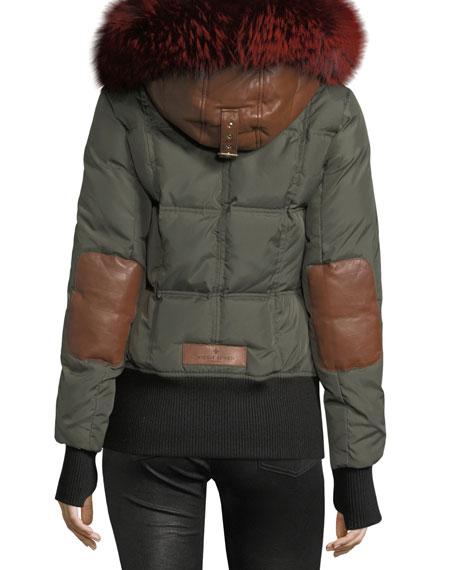 Fordham Fur-Trim Down Bomber Coat