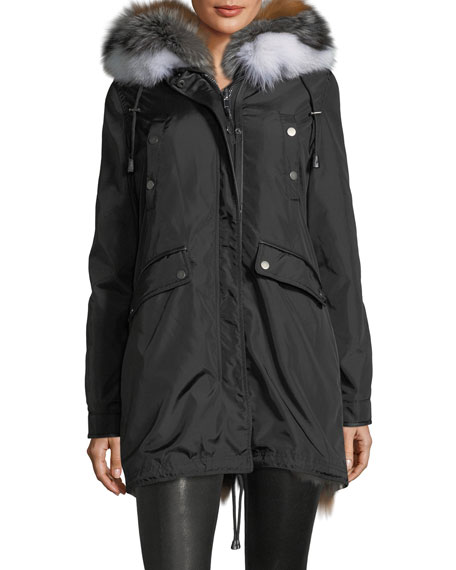 Belleville Reversible Fur-Trim Hooded Parka Coat