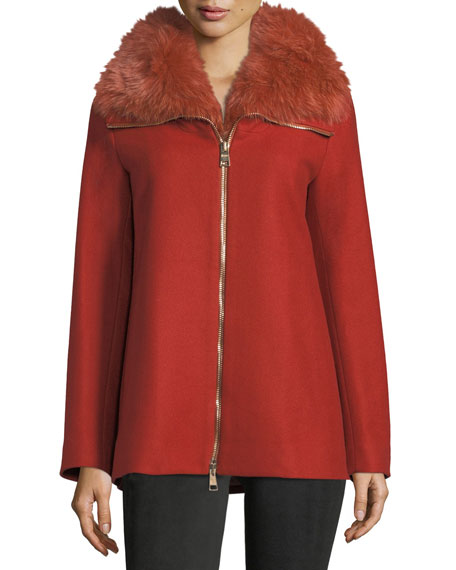 Long-Sleeve Zip-Front Wool Coat w/ Fur Collar