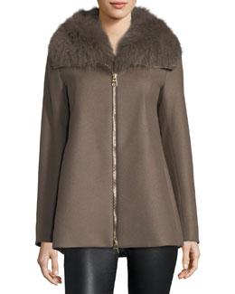 Long-Sleeve Zip-Front Swing Wool Coat w/ Removable Fur Collar