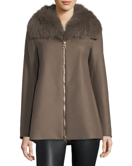 Long-Sleeve Zip-Front Swing Wool Coat w/ Removable Fur Collar