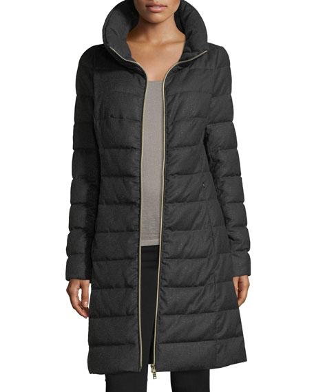 Long-Sleeve Zip-Front Quilted Puffer Lurex® Coat