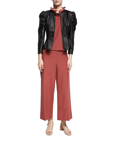 Cropped Wide-Leg Suit Pants