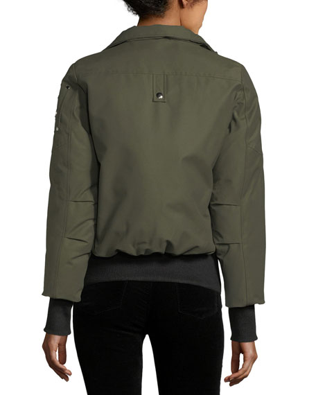 Debbie Long-Sleeve Zip-Front Bomber Jacket w/ Pompoms