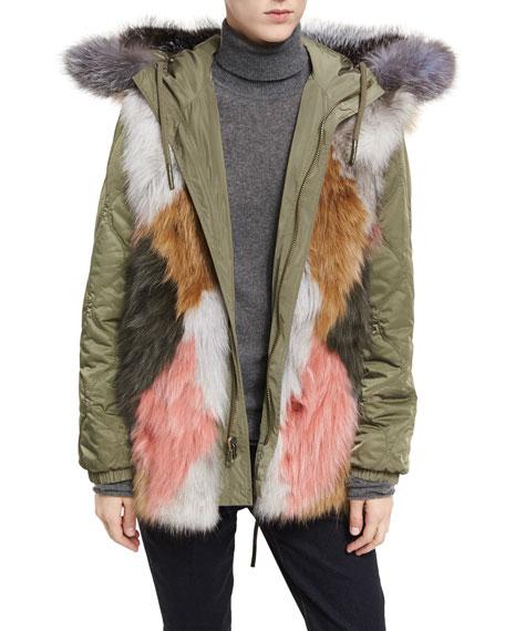 St. Fabien Reversible Anorak Jacket w/ Multicolor Fur