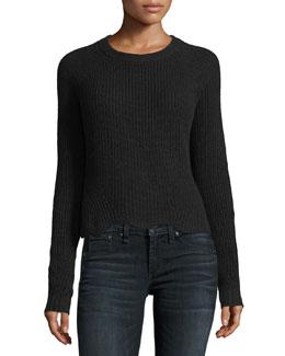 Scalloped Shaker Crewneck Long-Sleeve Cashmere Sweater