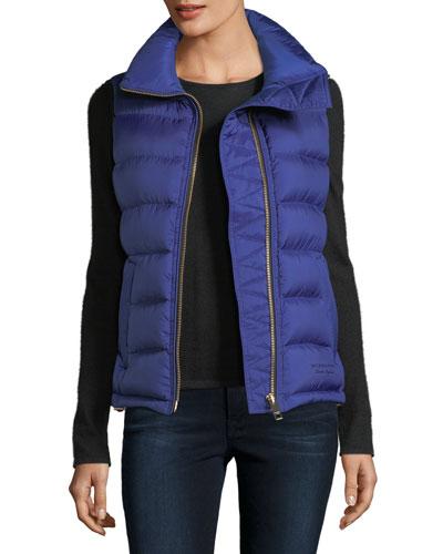 Bredon Down Zip-Front Vest, Cobalt
