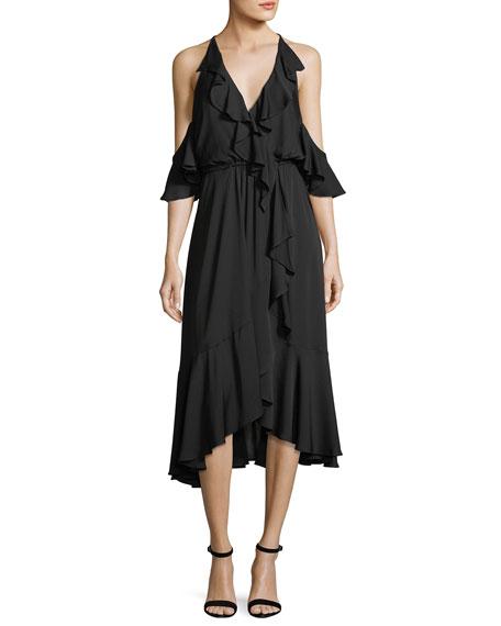 Milly Bryce Cold-Shoulder Ruffled Stretch-Silk Dress