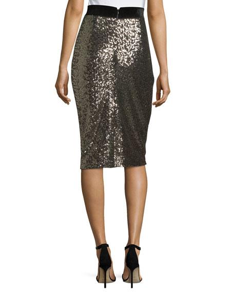 Sequined Midi Pencil Skirt