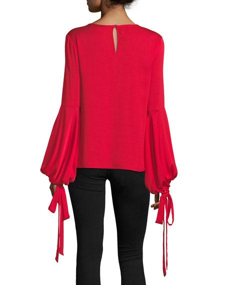 Juliette Dramatic Bishop-Sleeve Stretch-Silk Top