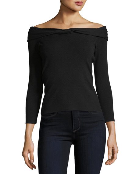 Twisted Off-the-Shoulder Knit Top