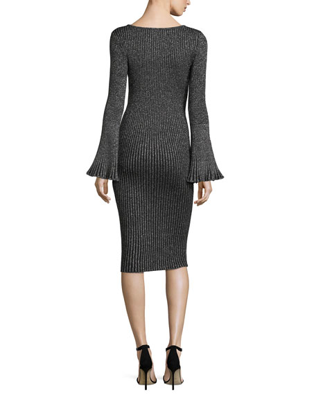 Flare-Sleeve Ribbed Metallic Sweater Dress